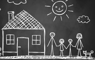 Sketch of family on blackboard